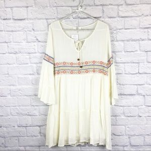 Dresses & Skirts - NWT ivory embroidered bell sleeve dress sz L